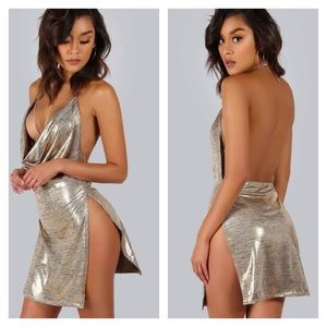 Gold Backless Metallic Plunge Cowl Night Out Dress